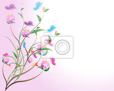 Blume Hintergrund mit Schmetterlingen