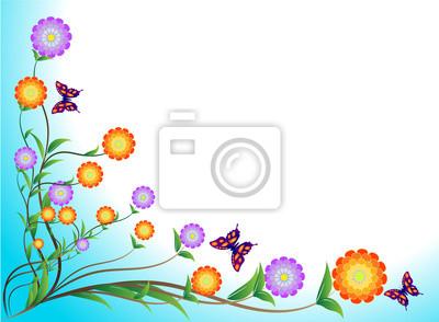 Blume und Schmetterlinge auf blauem Hintergrund