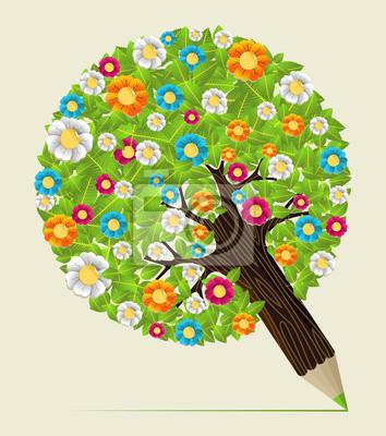Blume Verlässt Konzept Bleistift Baum Fototapete Fototapeten
