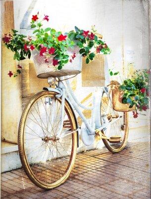 Fototapete Blumen bike - Vintage-Karte