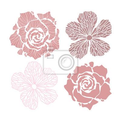 Blumen Gesetzt Blumen Vektor Fur Grusskarten Und Einladungen