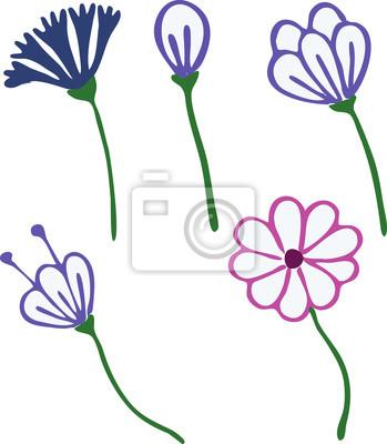 Blumen gezeichnet in der kindart umreißen für färbung oder andere ...