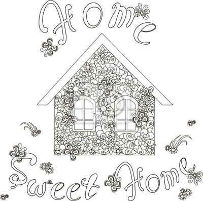 Frohe Weihnachten Schriftzug Zum Ausmalen.Fototapete Blumen Haus Mit Schriftzug Home Sweet Home Zum Ausmalen Seite