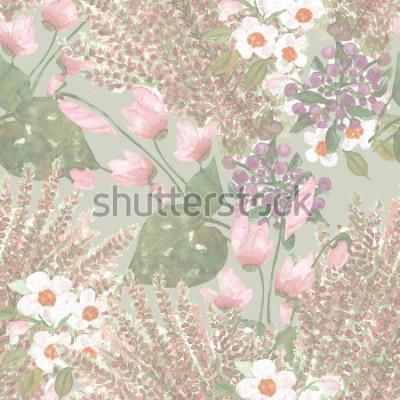 Fototapete Blumen nahtlose Muster