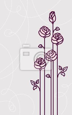 Blumen Rosen Karte Vektor Hochzeit Hintergrund Fototapete