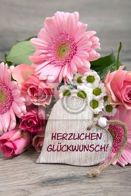 Blumen Und Herz Herzlichen Glückwunsch Fototapete