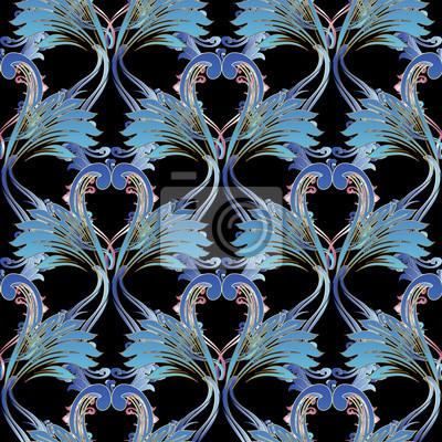 Fototapete Blumendamast Nahtlose Muster. Vektor Vintage Hintergrund.  Barocke Ornamente. Blaue Rosa Antike Blumen