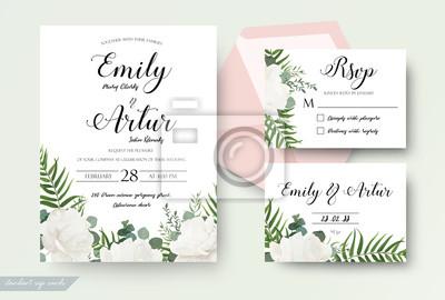 Blumendesign Der Hochzeitskarten Einladung Einladung Rsvp