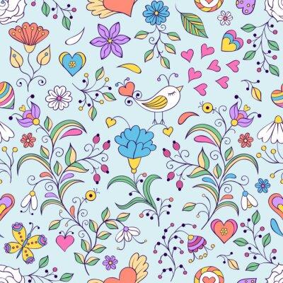 Fototapete Blumenhintergrund mit Vogel und Blumen
