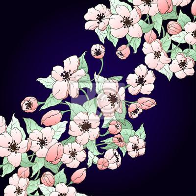 Blumenkarte mit Platz für Ihren Text auf dem dunklen Hintergrund