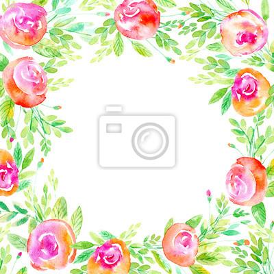 Blumenkranz Garland Einer Rosenzweige Frame Einer Krauter Watercolor