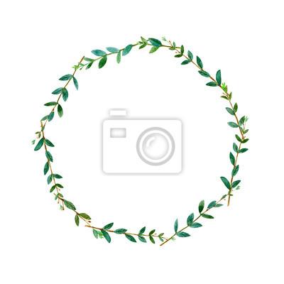 Blumenkranz Garland Mit Eukalyptuszweigen Wassercolourhand
