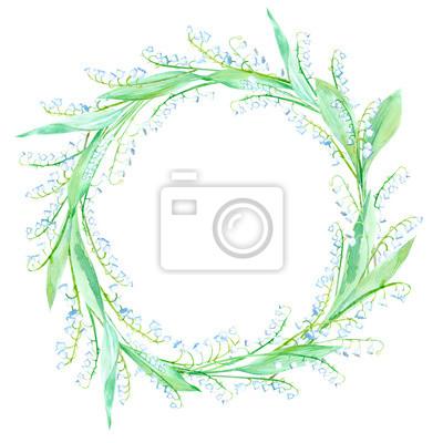 Blumenkranz Garland Mit Maiglockchen Aquarell Handgezeichnete
