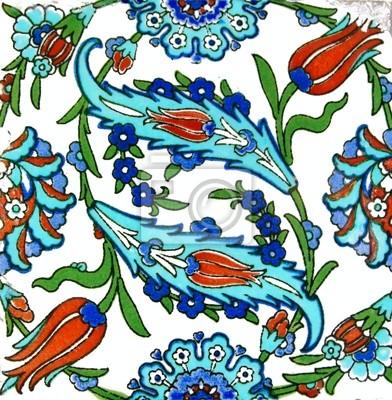 Blumenmuster Auf Alten Türkischen Fliesen Fototapete Fototapeten - Fliesen auf türkisch