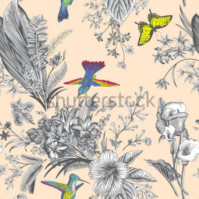 Fototapete Blumenmuster der Vektornahtlosen Weinlese. Exotische Blumen und Vögel. Botanische klassische Illustration. Bunt