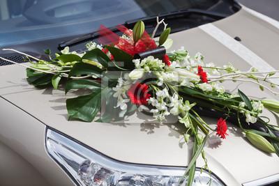 Blumenschmuck Auf Auto Anlasslich Einer Hochzeit Fototapete