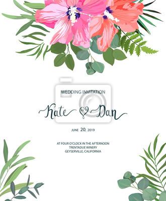 Blumenset mit hibiskus. hochzeitseinladung, speichern sie das ...