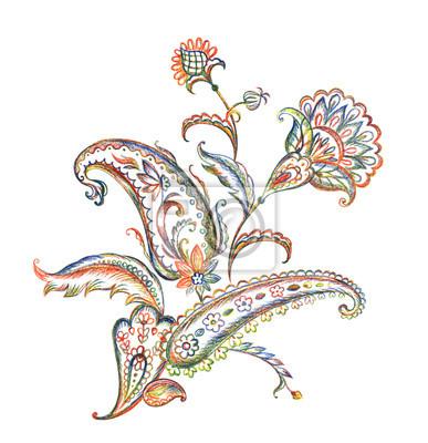 Blumenstrauß Des Paisley Musters Bleistiftzeichnung Auf Dem