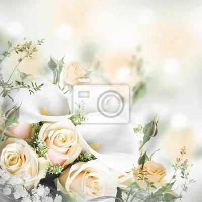 Blumenstrauß für die braut aus gelben rosen und weiße calla-lilien ...