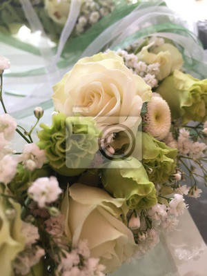 Blumenstrauss Hochzeit Rose Weiss Blume Braut Liebe Grun Ehe