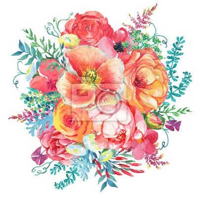 Blumenstrauss Mit Bluhenden Blumen Und Blattern Im Vintage Stil