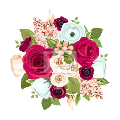 Blumenstrauß mit roten, weißen und blauen blumen. vektor ...