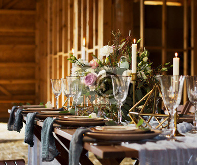 Blumenstrauss Und Kerzen Hochzeitsfeier Vintage Stil Fototapete
