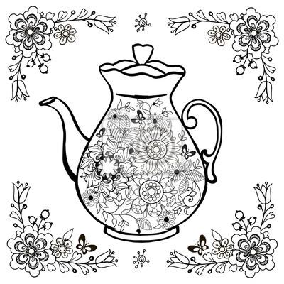 Blumentee In Der Teekanne Malvorlagen Blumen Und Schmetterlinge