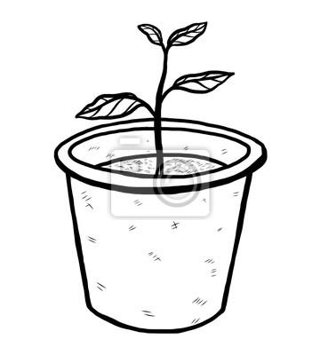 Blumentopf / cartoon vektor und illustration, schwarz und weiß ...