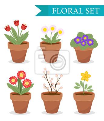Blumentopf mit verschiedenen blumen-set, flache stil. blumentopf ...