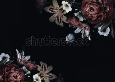 Fototapete Blumenweinlesekarte mit Blumen. Pfingstrosen, Tulpen, Lilie, Hortensie auf schwarzem Hintergrund. Vorlage für das Design von Hochzeitseinladungen, Urlaubsgrüße, Visitenkarte, Dekoration Verpackung