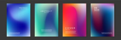 Fototapete Blurred backgrounds set with modern abstract blurred color gradient patterns on white. Smooth templates collection for brochures, posters, banners, flyers and cards. Vector illustration.