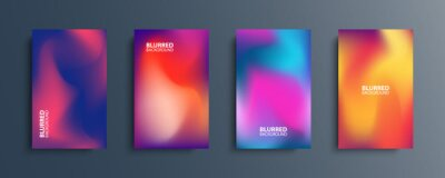 Fototapete Blurred backgrounds set with modern abstract blurred color gradient patterns. Smooth templates collection for brochures, posters, banners, flyers and cards. Vector illustration.