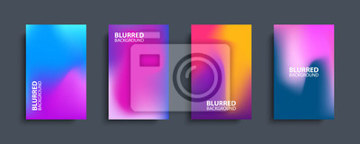 Fototapete Blurred backgrounds set with modern abstract blurred color gradient patterns. Templates collection for brochures, posters, banners, flyers and cards. Vector illustration.