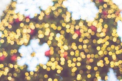 Fototapete Blurred Hintergrund, close up Schneeflocke auf Weihnachtsbaum mit b