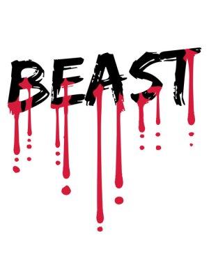 Fototapete blut tropfen bodybuilder beast mode monster stark kämpfer fitness training muskeln graffiti cool logo