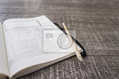 Fototapete Boceto layout sketch  de web en papel