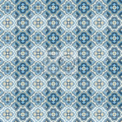 Bodenfliesen - nahtlose vintage-muster mit quatrefoils. patchwork ...