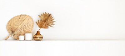 Fototapete Boho style interior standing on a white shelf