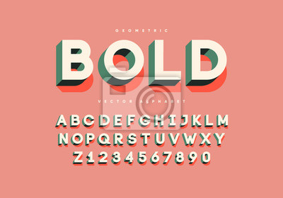 Fototapete Bold retro font with numbers. Trendy 3d alphabet. Eps10 vector.