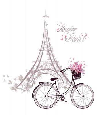 Fototapete Bonjour Paris Text mit Eiffelturm und Fahrrad