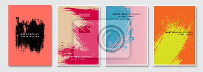 Fototapete Book cover templates set, vector paint stain abstract background. Flyer, presentation, brochure, banner, poster design.