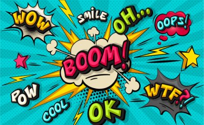 Fototapete Boom pop art cloud bubble. Smile, wow, pow, cool, ok, oops, wtf funny speech bubble. Trendy Colorful retro vintage background in pop art retro comic style. Illustration easy editable for Your design.