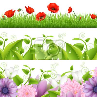 Borders mit Blumen und Gras