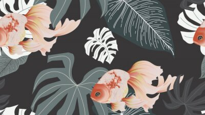 Fototapete Botanical seamless pattern, pink lotus flowers and goldfish on dark grey background, pastel vintage style