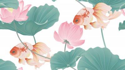 Fototapete Botanical seamless pattern, pink lotus flowers and goldfish on white background, pastel vintage style