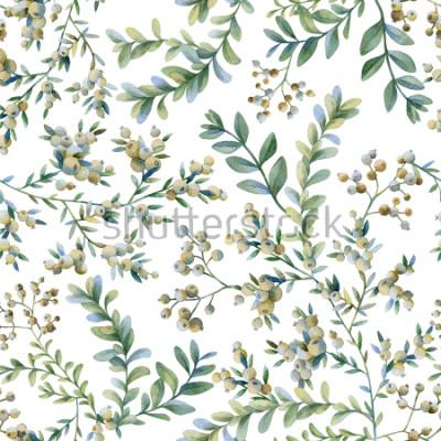 Fototapete Botanische Illustration. Botanischer Druck. Nahtloses Muster