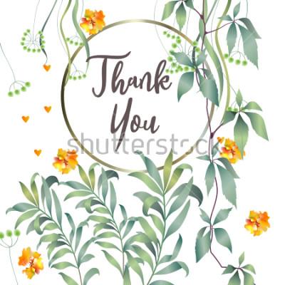 Fototapete Botanische Karte mit Monsterblatt, Blumen. Frühling Ornament Konzept. Blumenplakat, einladen. Dekorative Grußkarte des Vektorplans oder Einladungsdesignhintergrund. Hand gezeichnete Abbildung