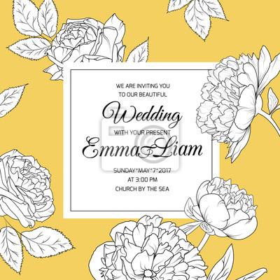 Fototapete Botanische Pfingstrose Rose Blumen Hochzeit Einladung Karte  Vorlage. Detaillierte Blumen Skizze Auf Hellem