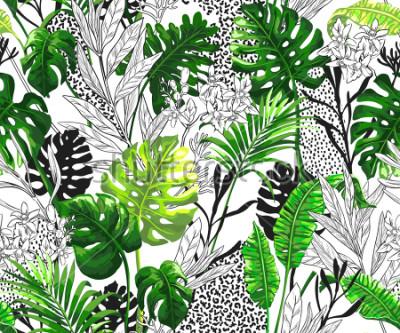 Fototapete Botanischer Hintergrund mit tropischen Palmblättern. Nahtloses Vektormuster in der modischen hawaiianischen Art.